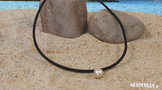 Pendentif perle d'Australie dorée sur lien de cuir