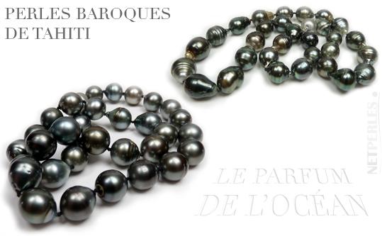 Perles Baroques de Tahiti, perles noires, perles de polynésie, colliers de perles baroques
