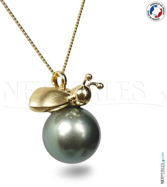 Pendentif Abeille - Or 18 carats et Perle noire de Tahiti