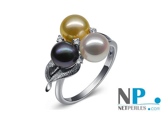 Bague en or 9k avec Perle de culture d'Akoya blanche, dorée et noire