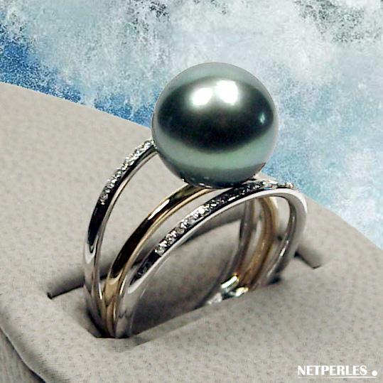 Bague en Or 18 carats et diamants avec perle de culture de Tahiti