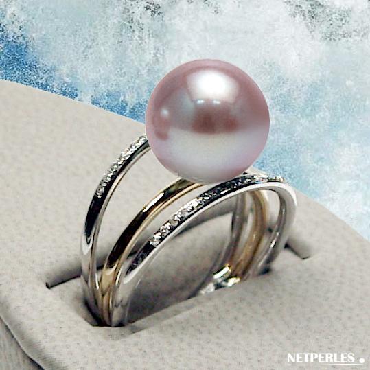 Bague 3 anneaux en Or 18 carats et diamants avec Perle d'eau Douce Lavande