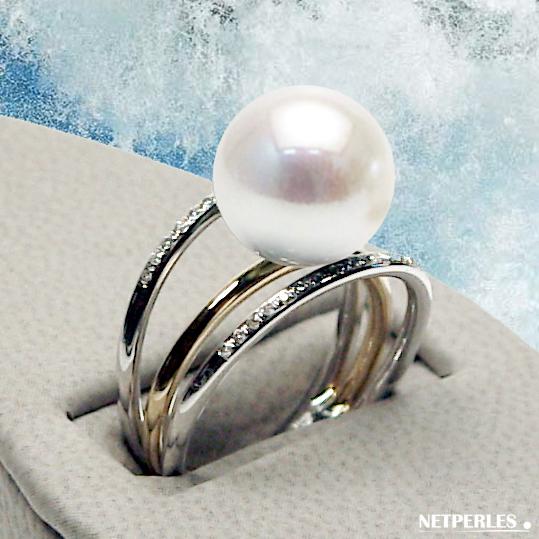 Bague 3 anneaux en Or 18 carats et diamants avec Perle DOUCEHADAMA