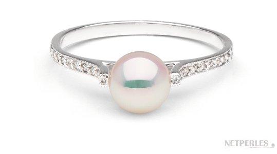 Bague Lueur en or gris diamant et perle d'Akoya 6-6.5 mm AAA