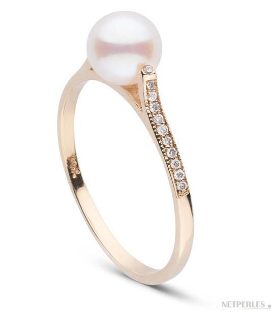 Bague Lueur en or jaune diamants et perle d'Akoya 6-6.5 mm AAA