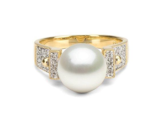 Bague Orbite en Or et diamants avec perle de culture d'Australie