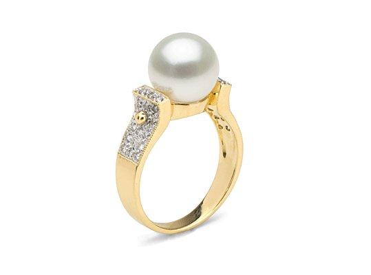 Bague Or et Diamants avec une perle de culture d'Australie