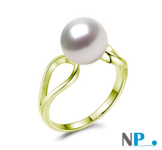 Bague en Or Jaune  avec perle de culture blanche d'Akoya