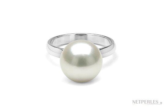 Bague Rosalie avec perle d'Australie blanche