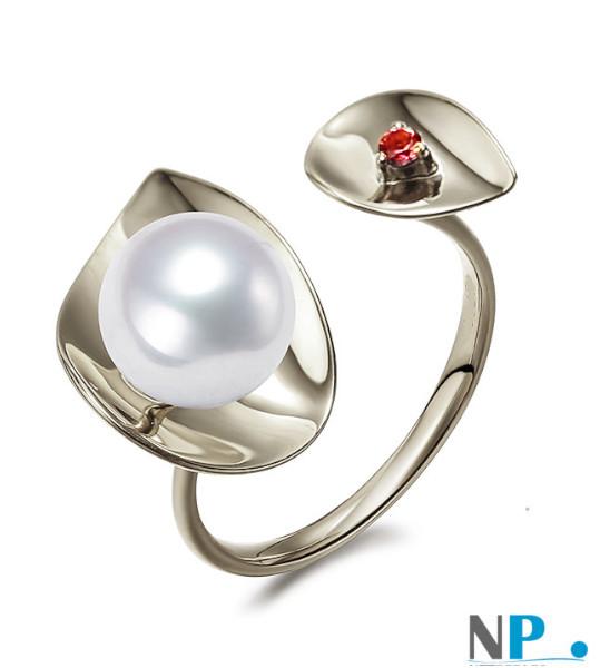 Bague en Argent 925 avec une perle d'Eau Douce blanche DOUCEHADAMA et une pierre tourmaline rouge