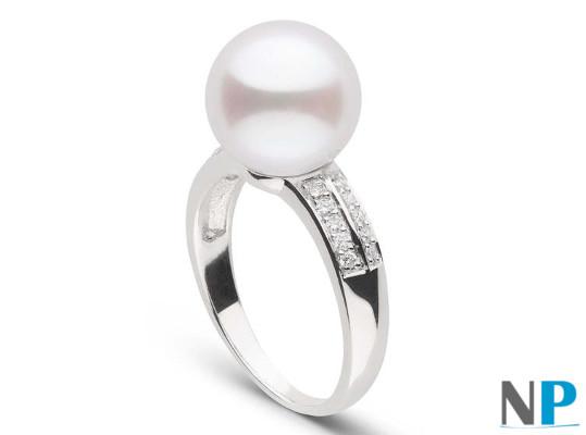 Bague Or Gris 18k  et diamants avec perle d'Akoya