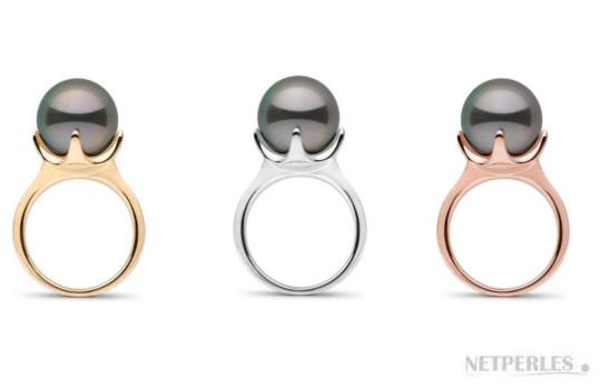 Bague en Or 14k et perle de Tahiti de 11-12 mm parfaitement ronde de qualité AAA haut de gamme