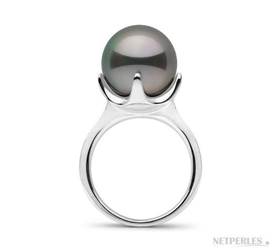 Bague en Or Gris et perle de Tahiti de 11-12 mm parfaitement ronde de qualité AAA haut de gamme