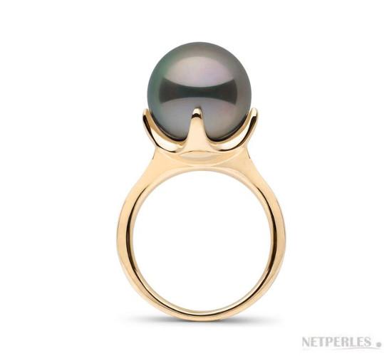 Bague en Or Jaune et perle de Tahiti de 11-12 mm parfaitement ronde de qualité AAA haut de gamme