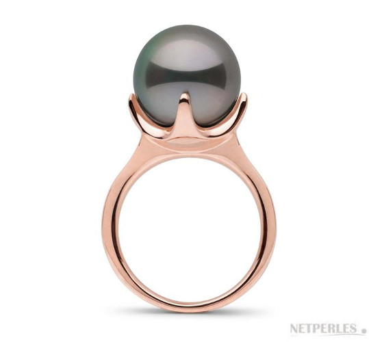Bague en Or Rose et perle de Tahiti de 11-12 mm parfaitement ronde de qualité AAA haut de gamme