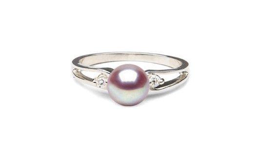 bague Virgule en Argent diamants et perle de culture d'eau douce lavande