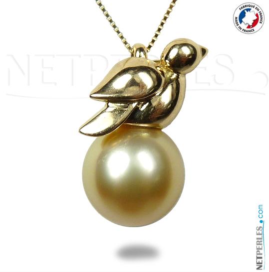 bijou en or, forme oiseau, or jane et sa perle doree des  philippines