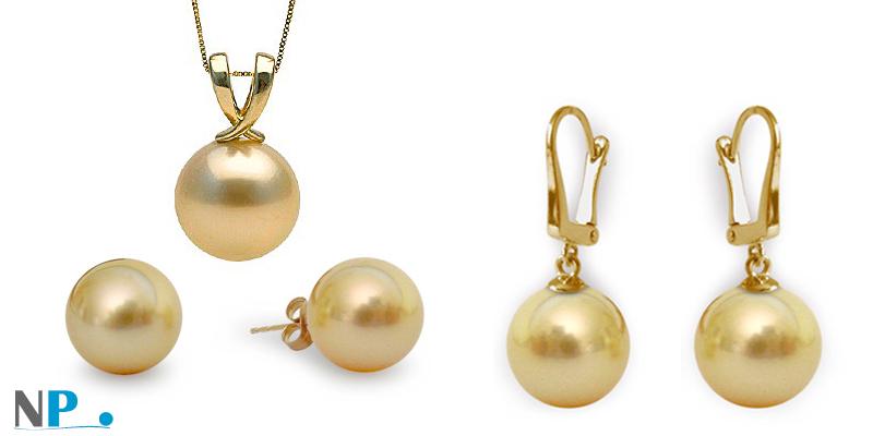 Bijoux en or avec perles dorees des mers du sud