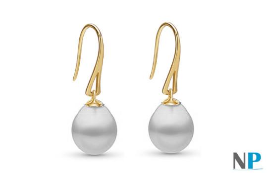 Boucles d'Oreilles en Or Jaune  18 carats avec perles forme de goutte blanches argentées