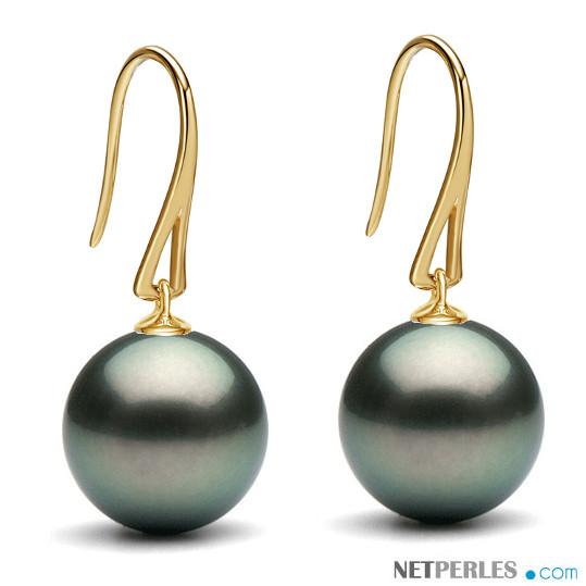 Boucles d'oreilles en Or 9 carats avec perles de Tahiti