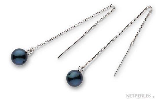 Paire de boucles d'Oreilles en Argent 925 avec perles de culture d'Akoya noires