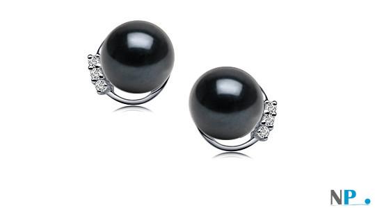 Boucles d'oreilles de perles de culture en Or 18k diamants et perles d'Akoya
