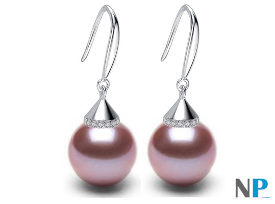 Boucles d'oreilles en Argent 925 zirconiums et perles lavandes d'eau douce AAA