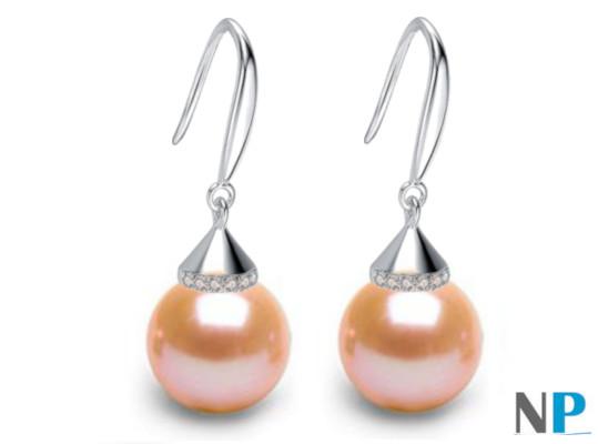 Boucles d'oreilles en Argent 925 zirconiums et perles peches d'eau douce AAA