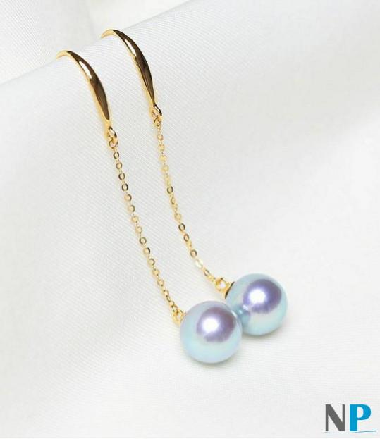 Paire de boucles d'oreilles de perles de culture Akoya bleues argentées sur Or 18k