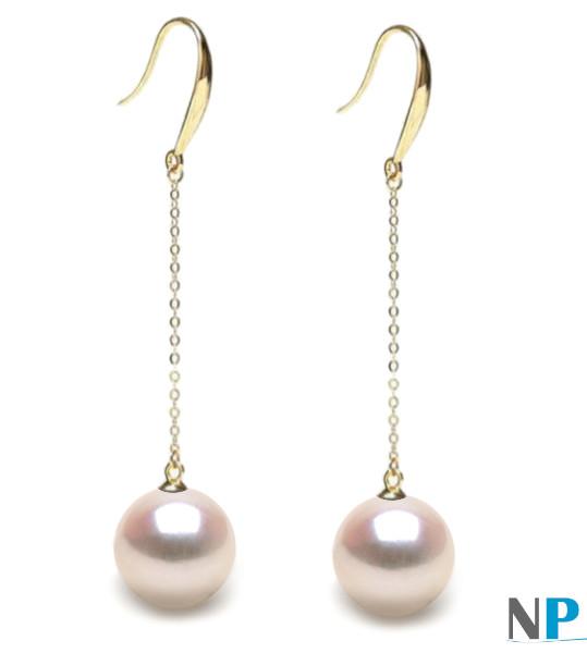 Boucles d'oreilles avec perles d'Akoya blanches en Or Jaune 18k