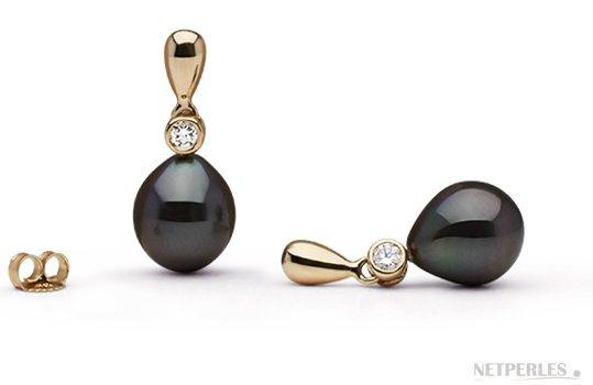 Boucles d'oreilles Or Jaune Diamants et Perles de Tahiti Gouttes AAA