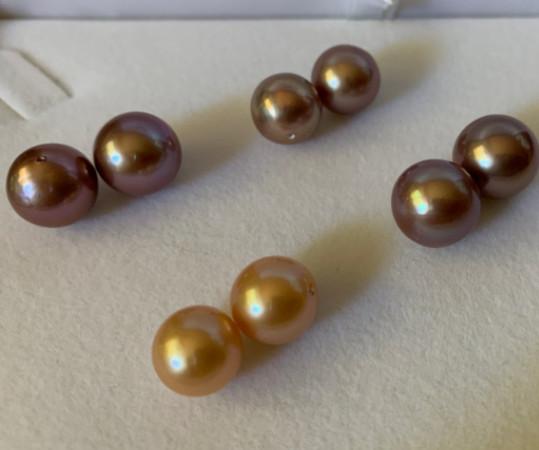 Perles Edison lustre métallique Lavande et pêche