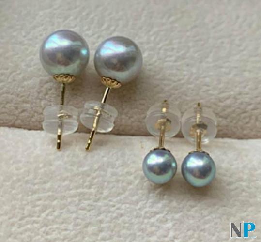Boucles d'oreilles en or jaune 18k avec perles bleues Akoya