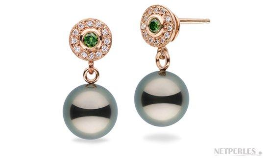 Boucles d'oreilles en Or Rose 14 carats avec perle de culture de Tahiti et diamants verts et blancs