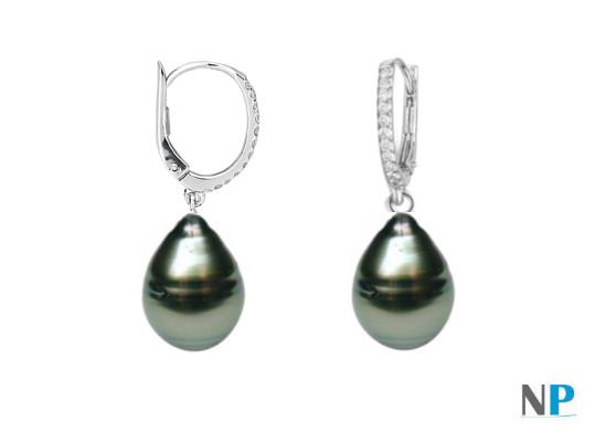 Boucles d'oreilles avec perles gouttes baroques de Tahiti légèrement cerclées