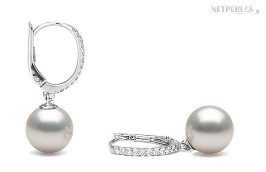 Boucles d'oreilles de perles d'Australie blanches argentées
