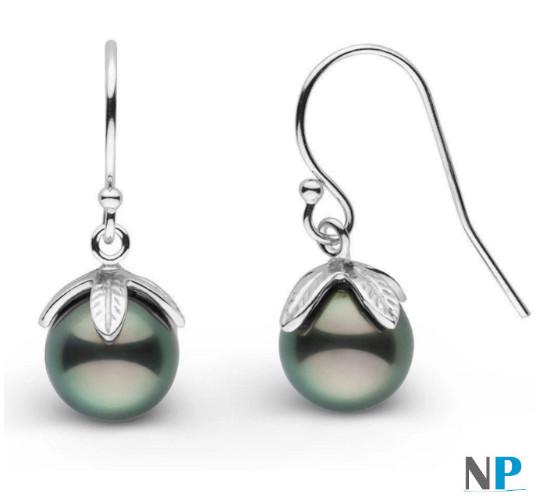 Boucles d'oreilles en argent avec perles de Tahiti