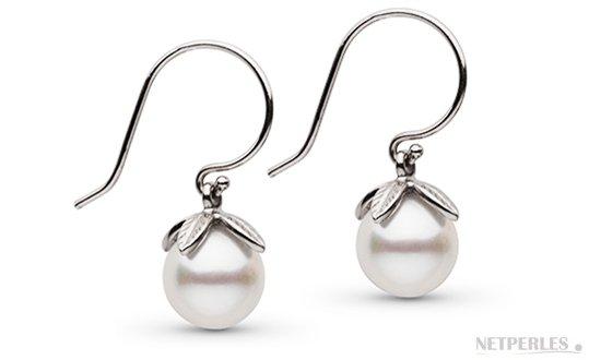 Boucles d'oreille de perles de culture d'eau douce blanches en or gris