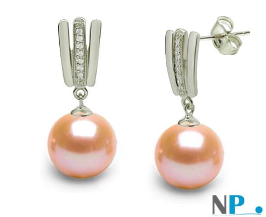 Boucles d'oreilles en or gris, diamants et perles Doucehadama de couleur naturelle PECHE
