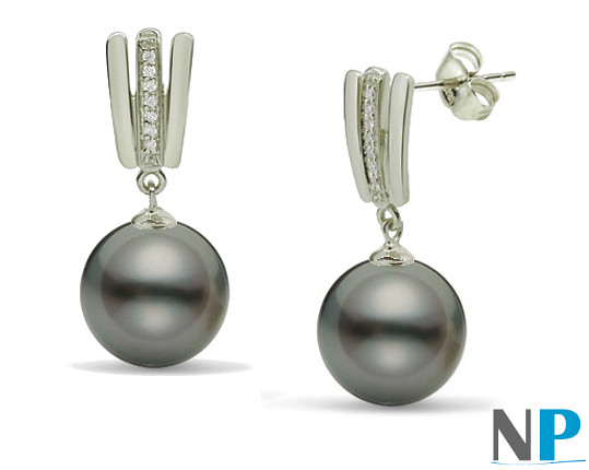 Boucles d'oreilles en argent avec perles de Tahiti et zirconiums