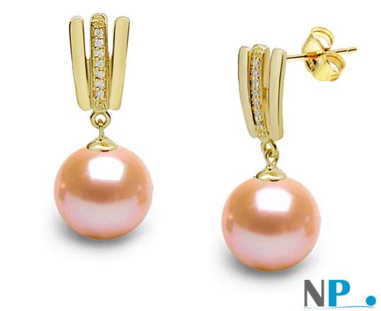 Boucles d'oreilles en or jaune, diamants et perles Doucehadama de couleur naturelle PECHE