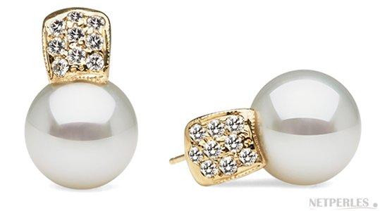 Boucles d'oreilles en Or Jaune et diamants avec perles de culture d'Australie AAA