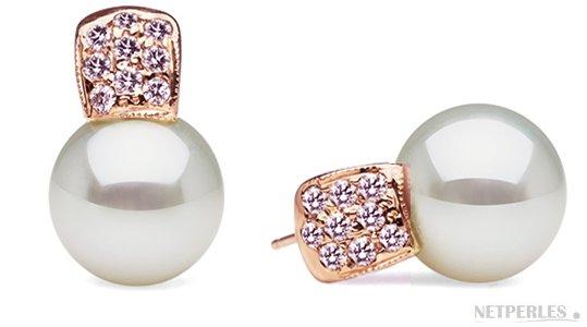 Boucles d'oreilles en Or Rose et diamants avec perles de culture d'Australie AAA