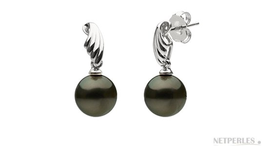 Boucles d'oreilles de perles de Tahiti 8-9 mm AAA en or Gris