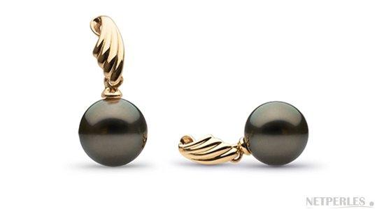Boucles d'oreilles de perles de Tahiti 8-9 mm AAA en or Jaune