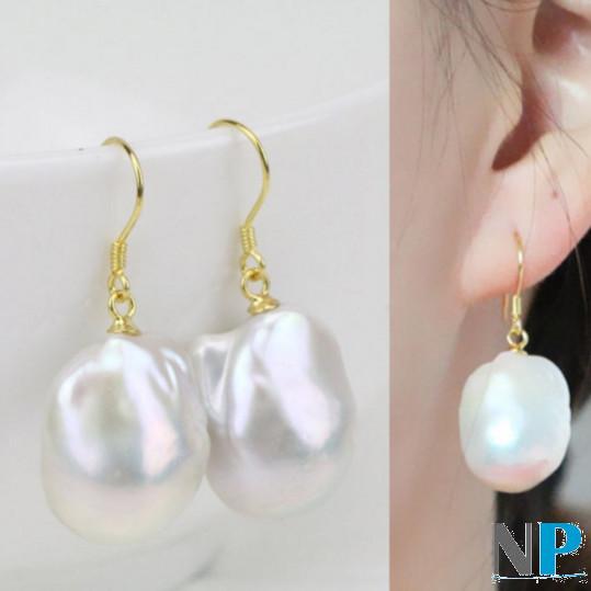 Boucles d'oreilles avec perles JUMBO d'eau douce, en argent  plaqué or jaune