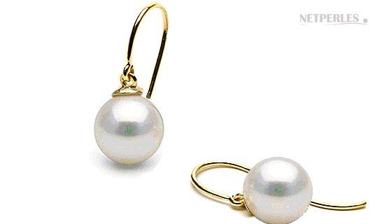 Boucles d'oreilles avec perles d'Akoya suspendues aux dormeuses ouvertes en Or 14k
