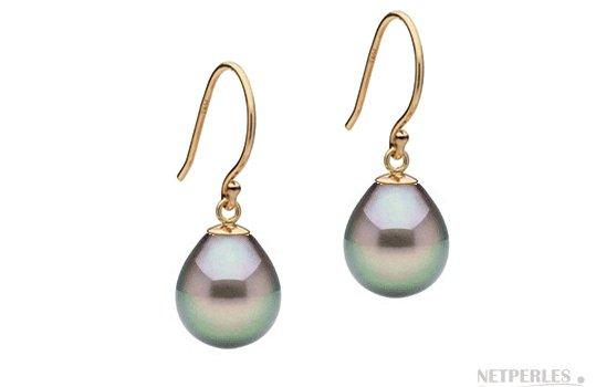 Boucles d'oreilles Or Jaune et Perles de Tahiti Gouttes AAA