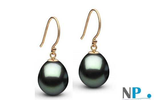 Boucles d'oreilles en or jaune 14 carats perles de Tahiti Goutte AAA