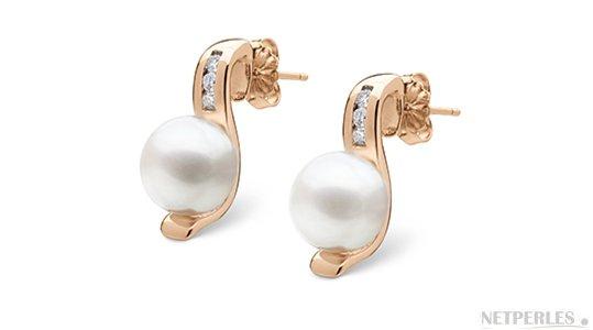 Boucles d'oreilles en Or Rose avc perles d'Eau Douce blanches de qualité DOUCEHADAMA